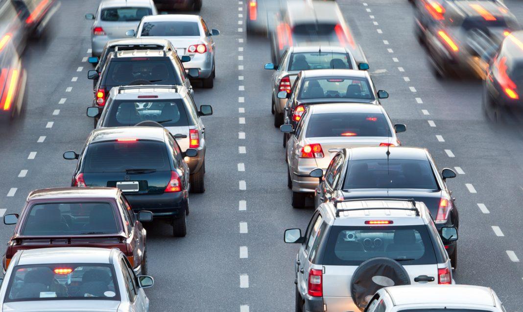 heavy traffic highway cars tixac car