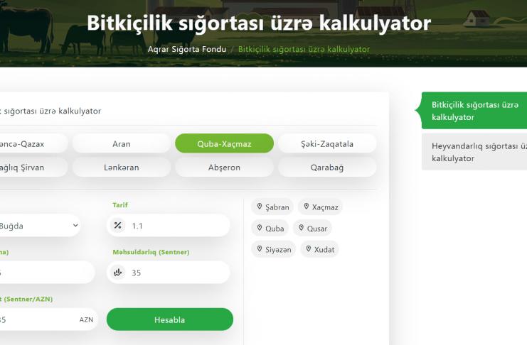 Azərbaycanda Aqrar Sigorta Kalkulyatoru Istifadəyə Verilib
