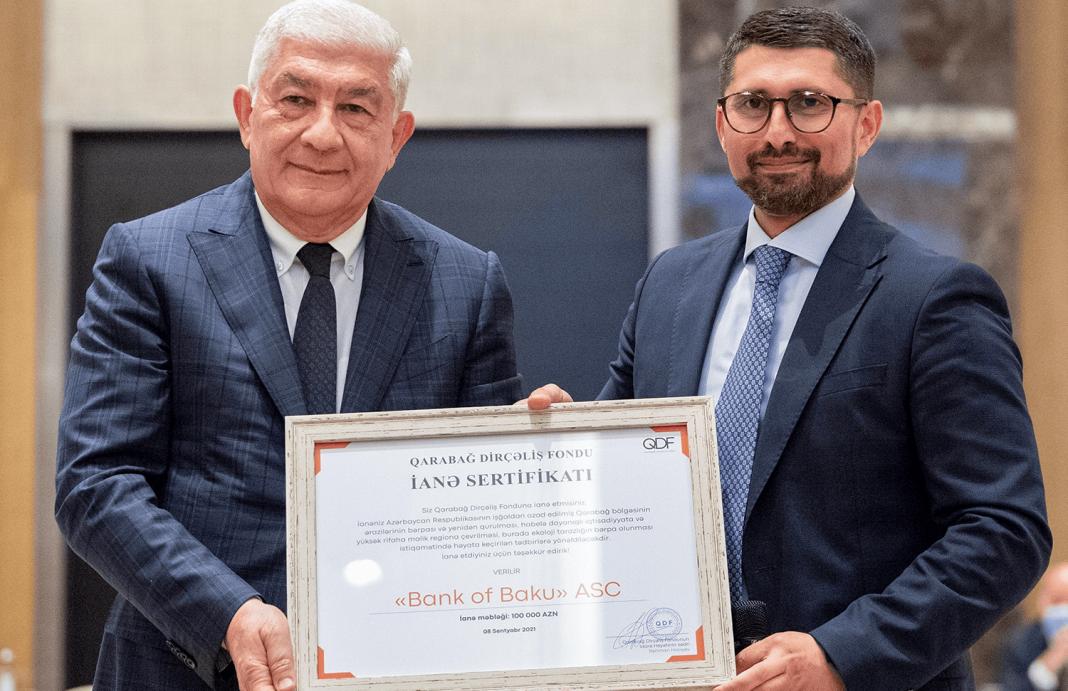 Bank of Baku Qarabag Dircəlis Fondunun xususi sertifikati ilə təltif olunub e1631259412195